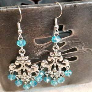 Victorian Crystal Scroll Chandelier Drop Earrings